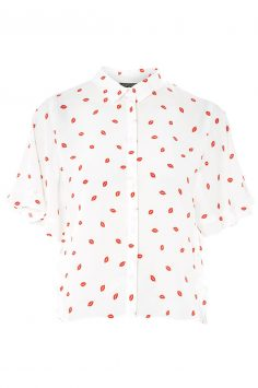 Click to buy Topshop Lip Print Casual Shirt online