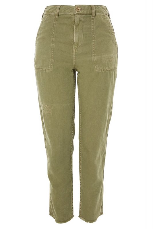 Click to buy Topshop Khaki Utility Trousers online