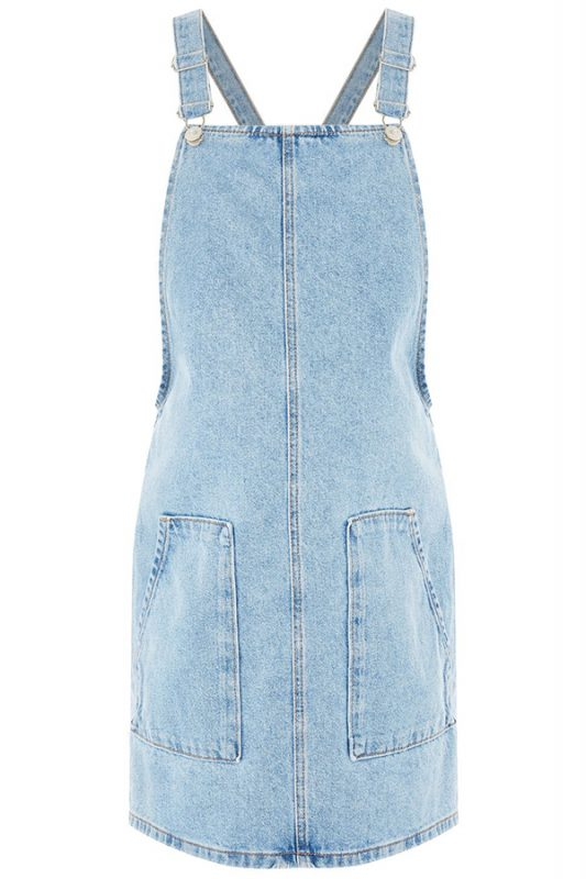 Click to buy Topshop Denim Pinafore Dress online