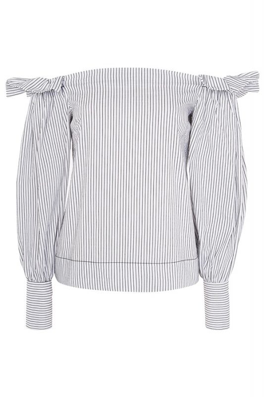 Click to buy Topshop Ruched Stripe Bardot online