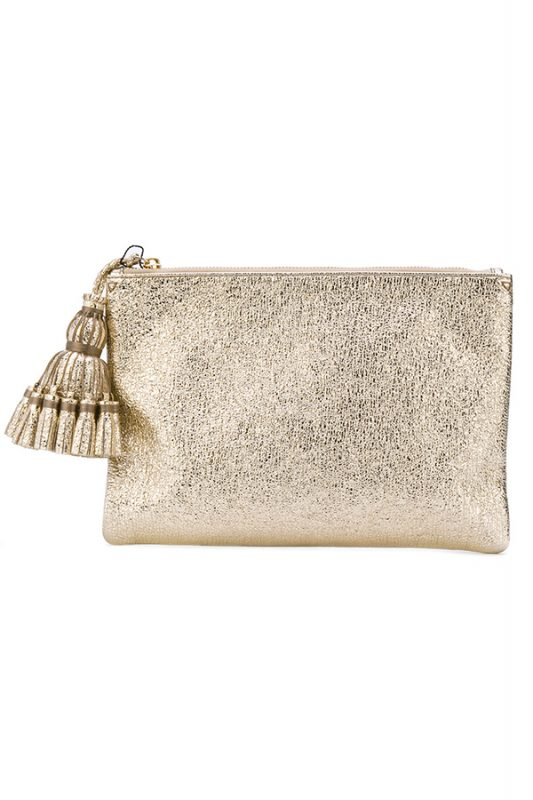 Click to buy Anya Hindmarch Metallic Tassel Clutch online