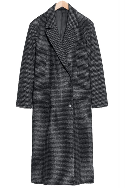 & Other Stories checked maxi coat
