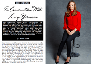 Lucy Yeomans Exlusive Interview