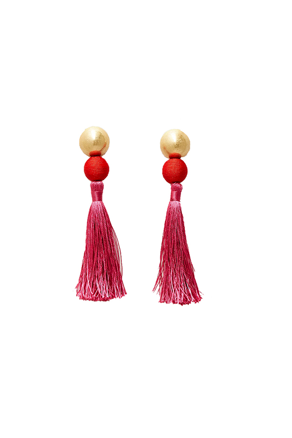 Click to buy Mango pink tassel earrings online