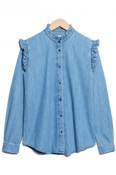 Click to buy Chambray Frill Blouse online