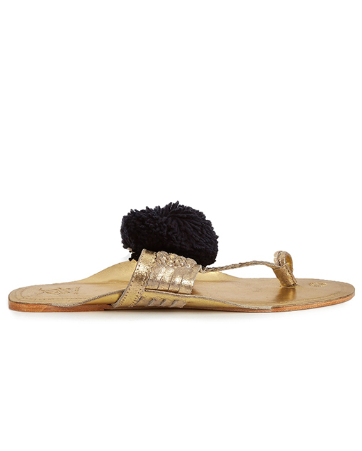 FIGUE Leo pompom-embellished leather sandals