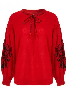 Click to buy Red Embroidered Sleeve Blouse online