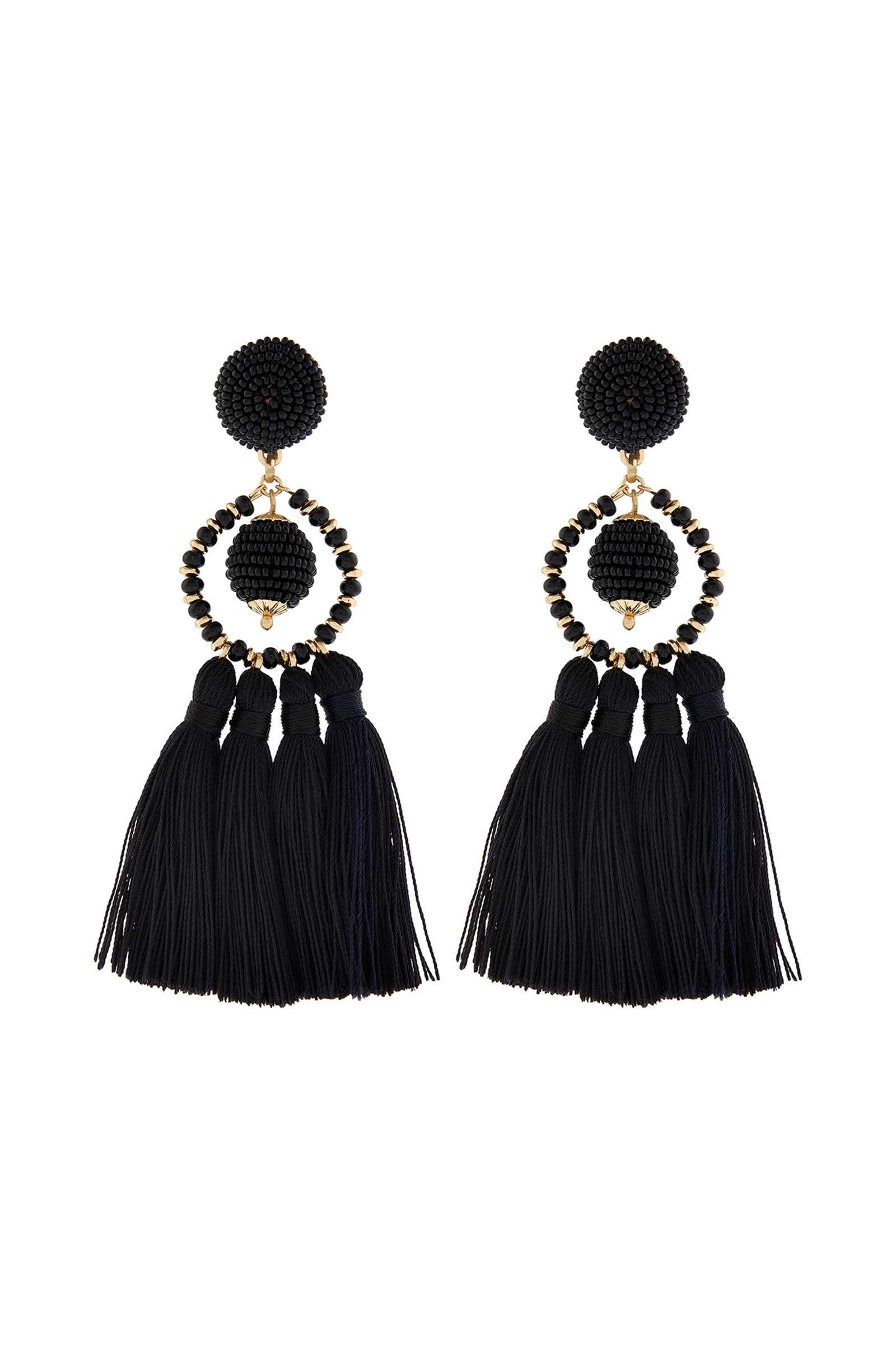 Click to Buy Accessorize Black Tassel Earrings
