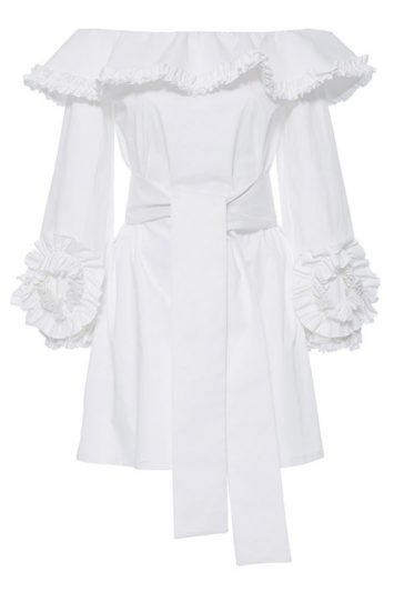 Click to buy Alexis white ruffle dress