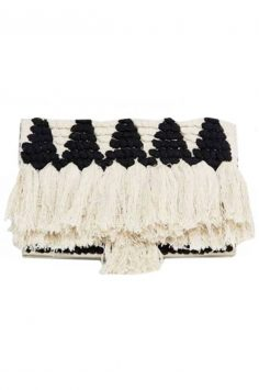 Click to buy ASOS Straw Tassel Clutch online
