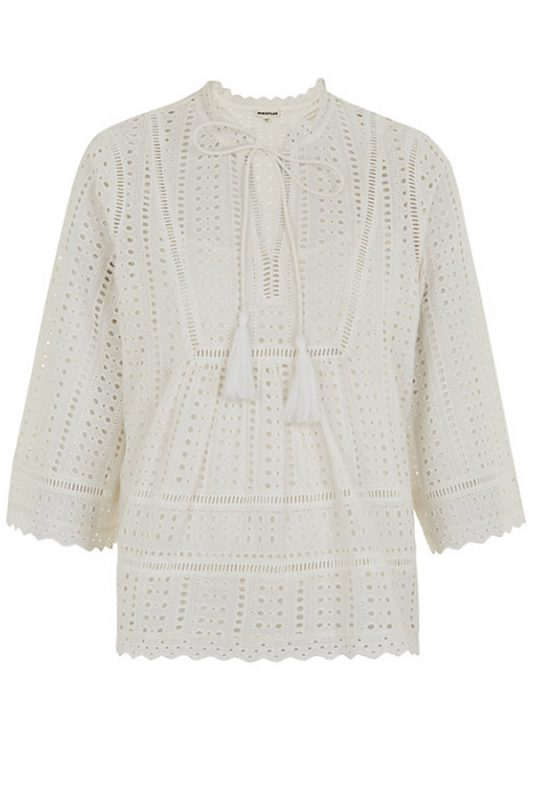 Click to buy Whistles Broderie Tassle Blouse online
