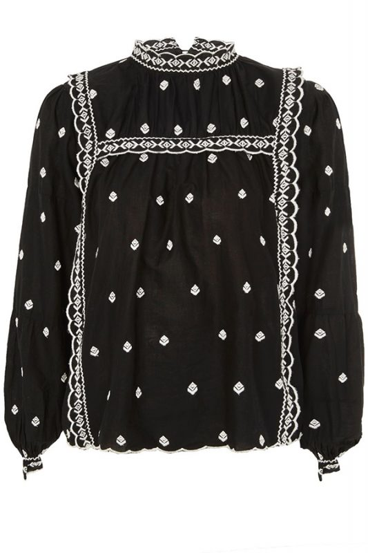Click to buy Topshop Cotton Broderie Top online