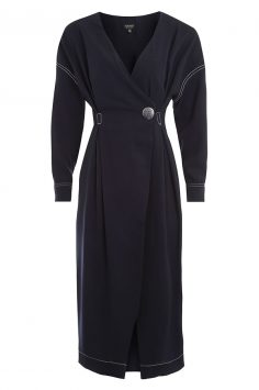 Click to buy Topshop Wrap Over Midi Dress online