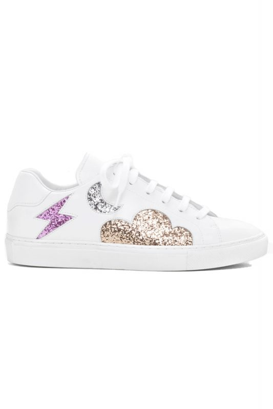 Click to buy White Leather Glitter Sneaker online
