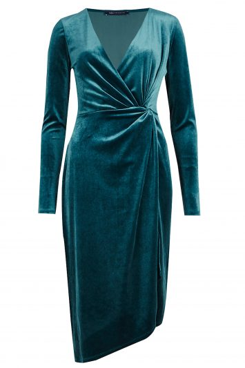 Click to Buy Marks and Spencer Velvet Drape Waist Bodycon Midi Dress