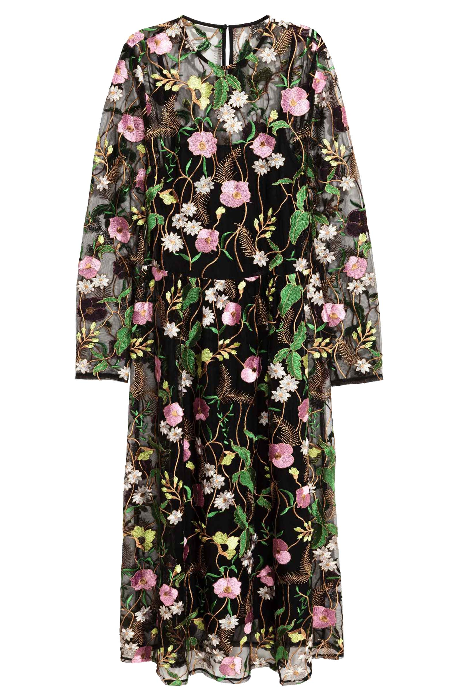 Click to Buy H&M Floral Embroidered Mesh Dress