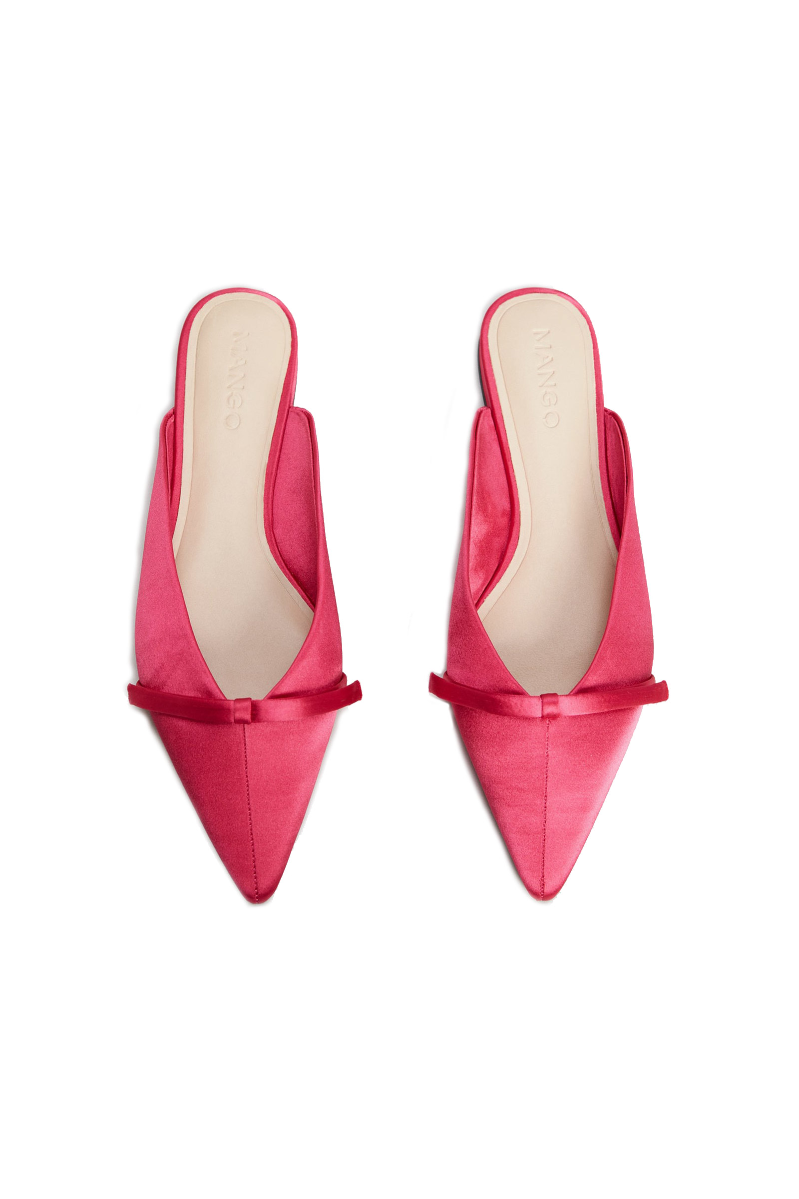 Click to Buy Mango Bow Satin Pink Mules