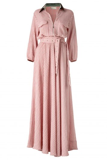 Click to Buy DANEH Maxi Pink Gingham Dress