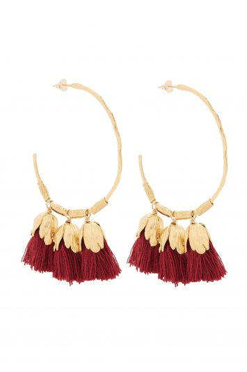 Click to Buy Elise Tsikis Tassel Red Earrings