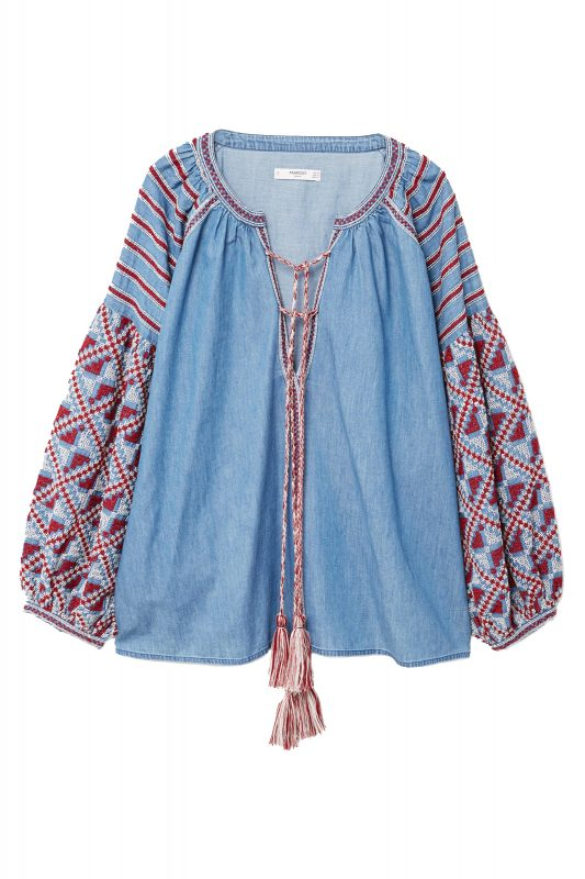 Click to Buy Mango Denim Embroidered Blouse