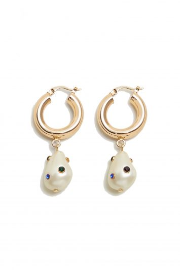 Click to Buy Mango Pearl Hoop Earrings