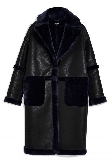 Click to Buy Topshop PU Faux Fur Trim Coat