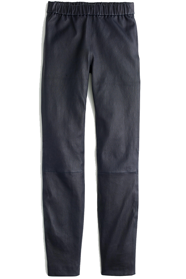 Click to buy J Crew navy leather leggings online