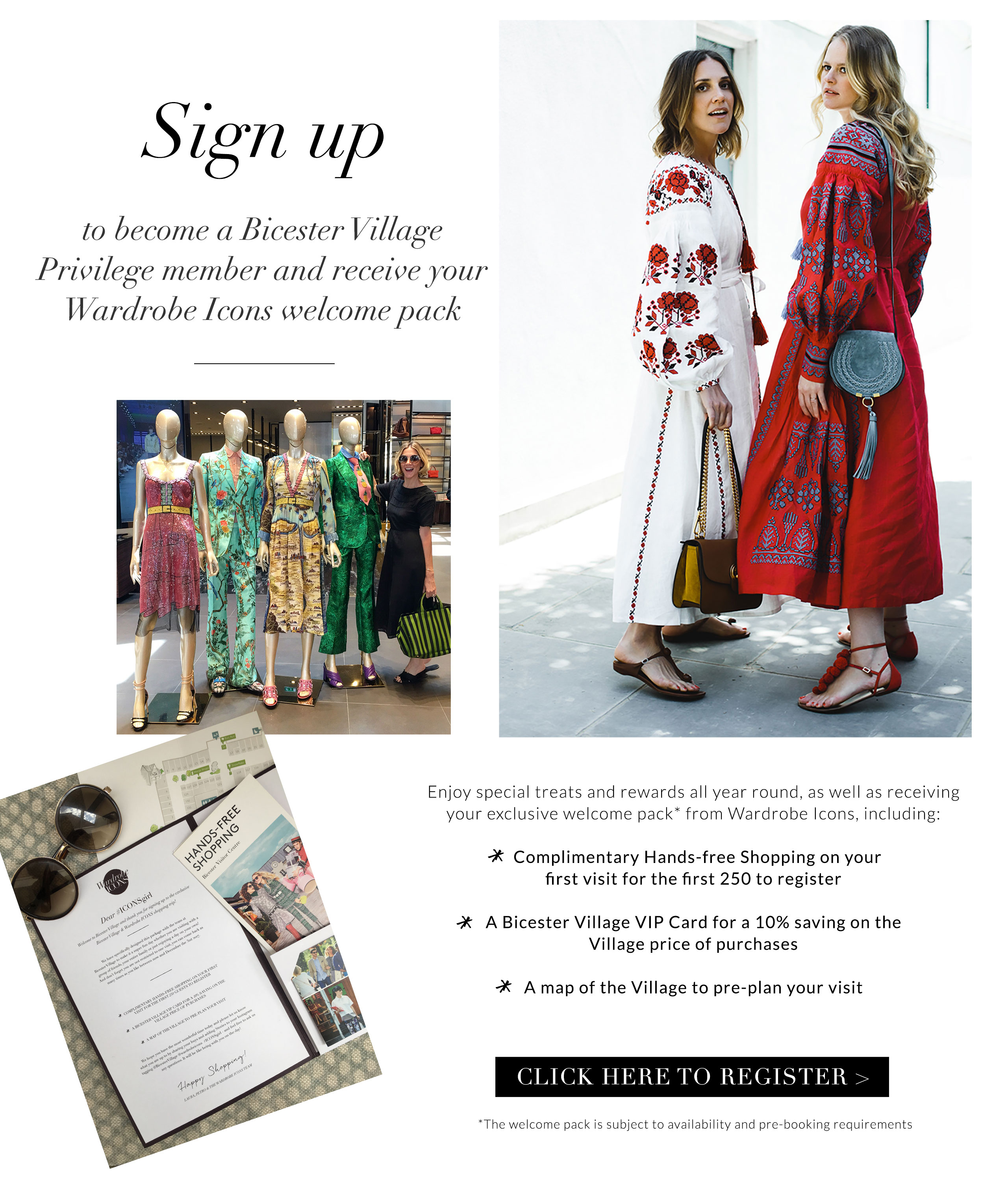 Click to sign up to Bicester Village x Wardrobe ICONS promotion