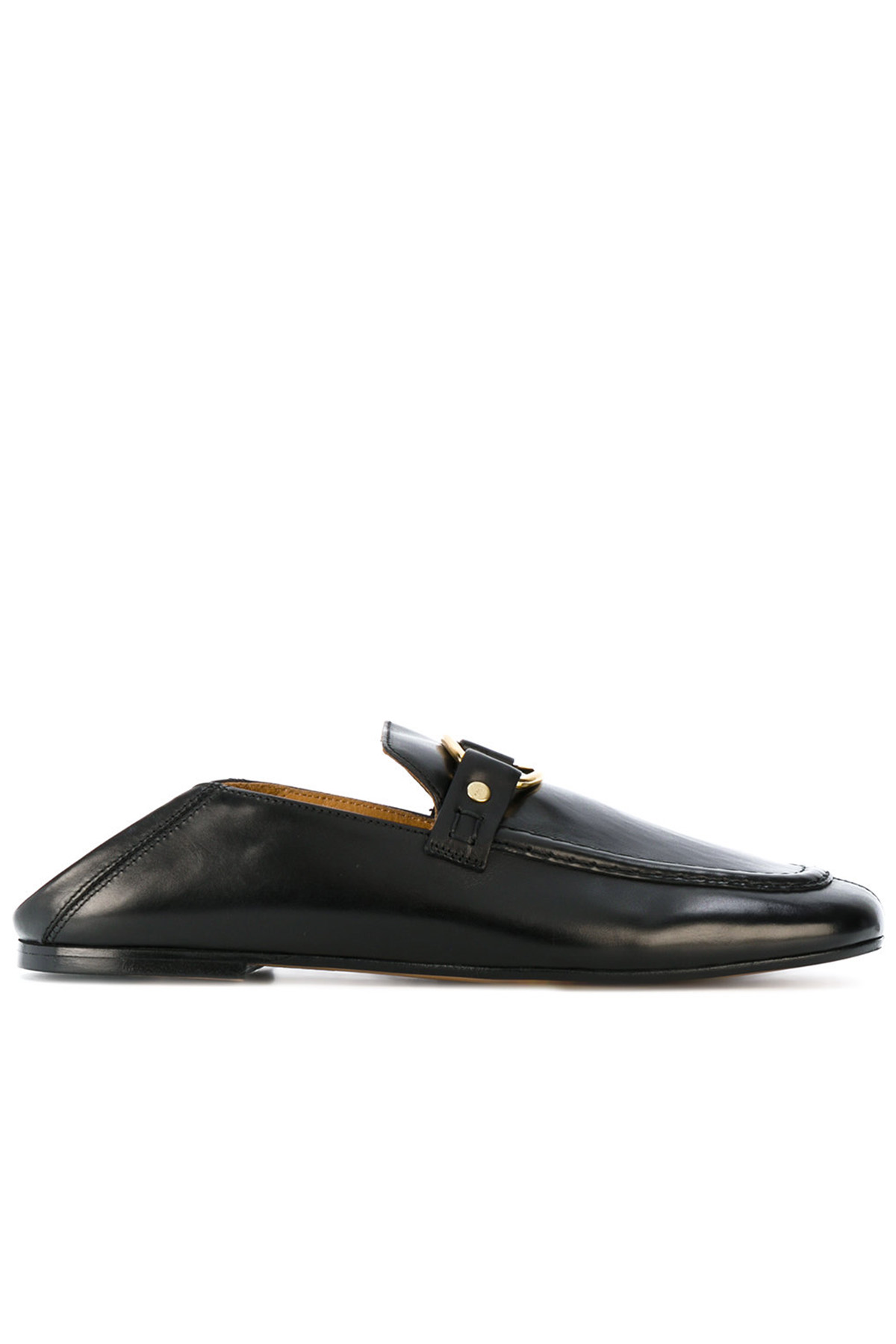 leather and metal buckle slip on loafers