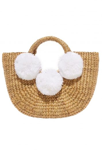 Click to buy JADEtribe white pom pom bag