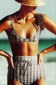 Image of a woman in Chanel high-waisted bikini