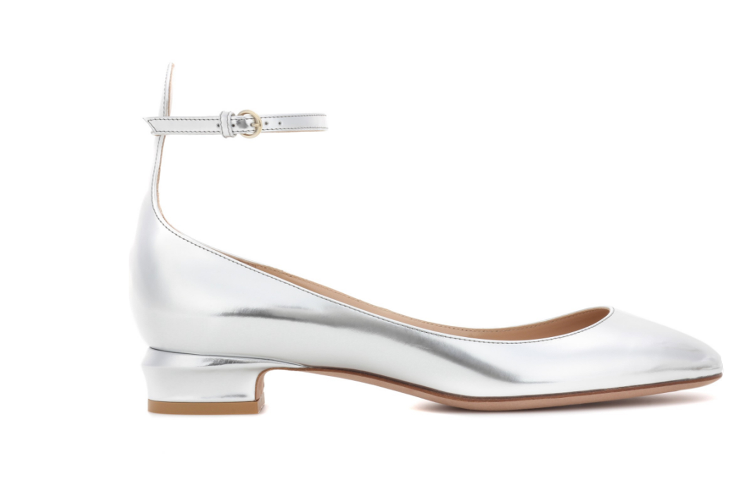 c3ceeff6846f Valentino silver leather ankle strap low-heeled shoes