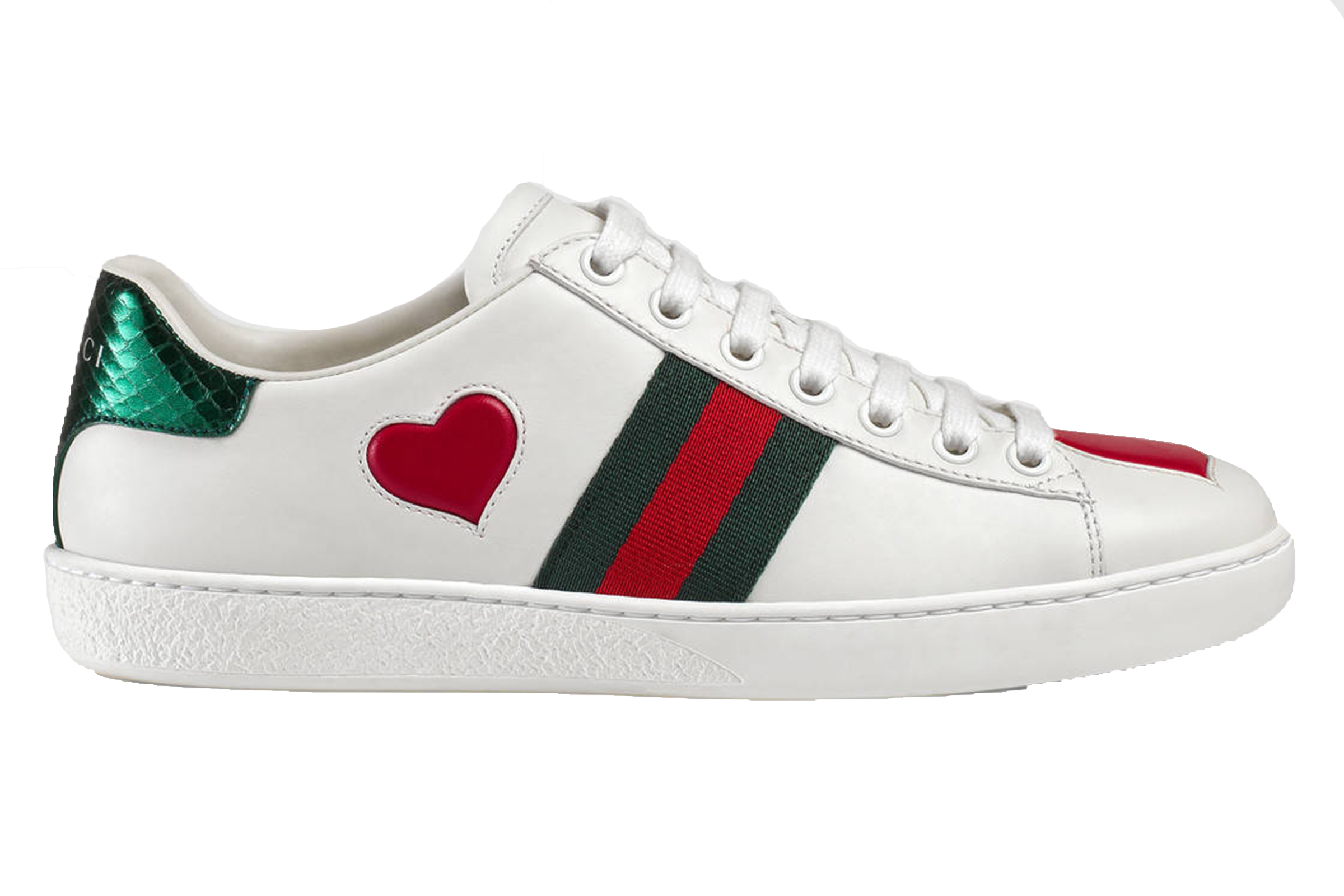 9c37d03a3ea9 Gucci white leather and heart canvas embroidered motif