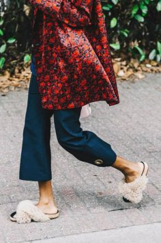 Image of Donna Wallace wearing furry slides