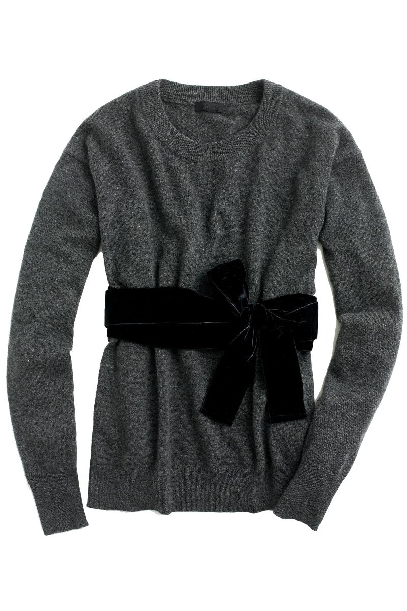 Click to buy J. Crew cashmere and velvet jumper