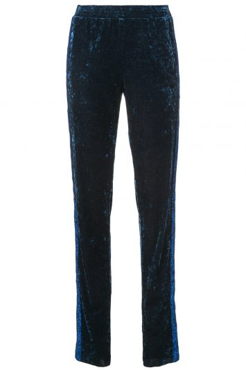Click to buy Anna Sui navy velvet track pants
