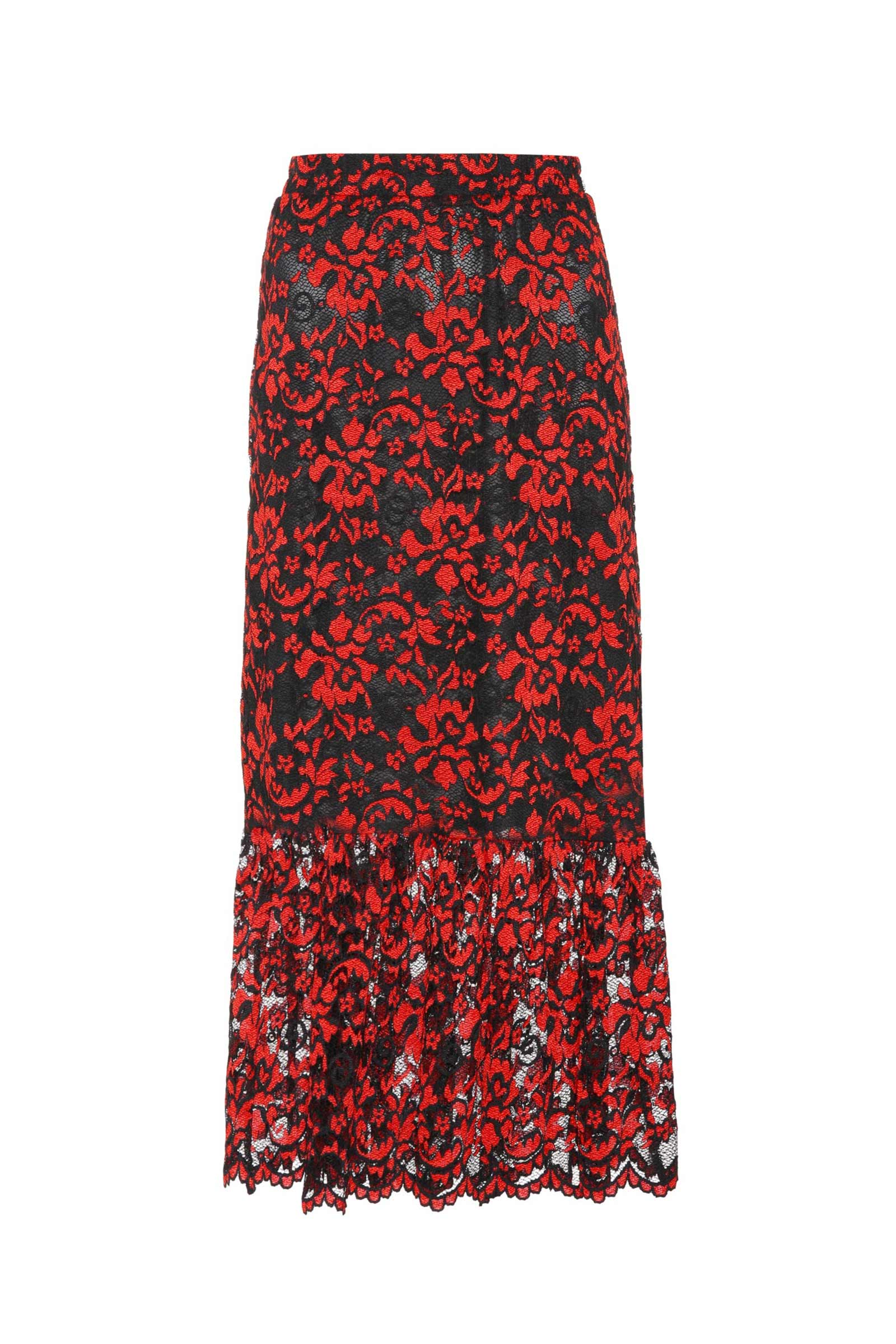 ebd77769165 Buy Ganni Flynn Red Midi Lace Design Skirt Online