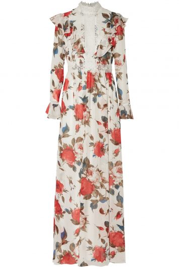 Click to buy Mikael Aghal floral chiffon gown online