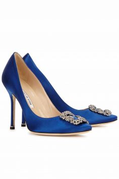 Click to Buy Manolo Blahnik Satin Pumps
