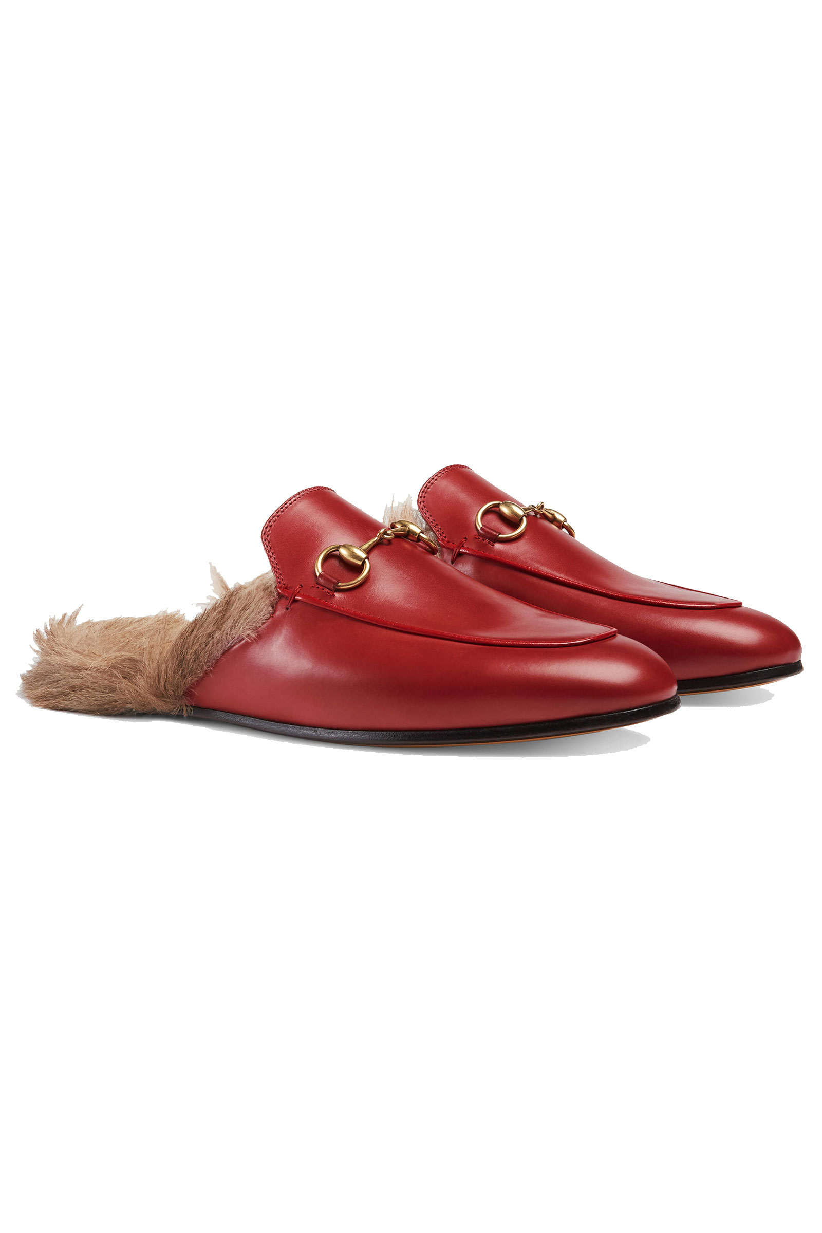 c57f319ae685 Buy Gucci Princetown Fur Lined Leather Slippers Online