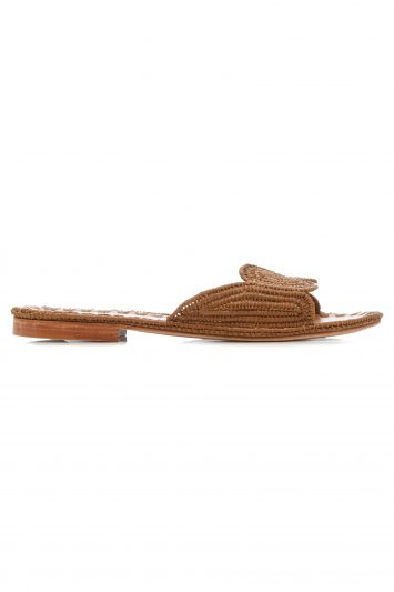 Click to Buy Carrie Forbes Brown Raffia Slides