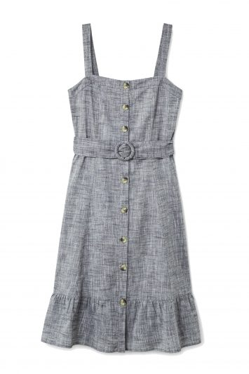 Click to Buy Mango Cotton Midi Grey Dress
