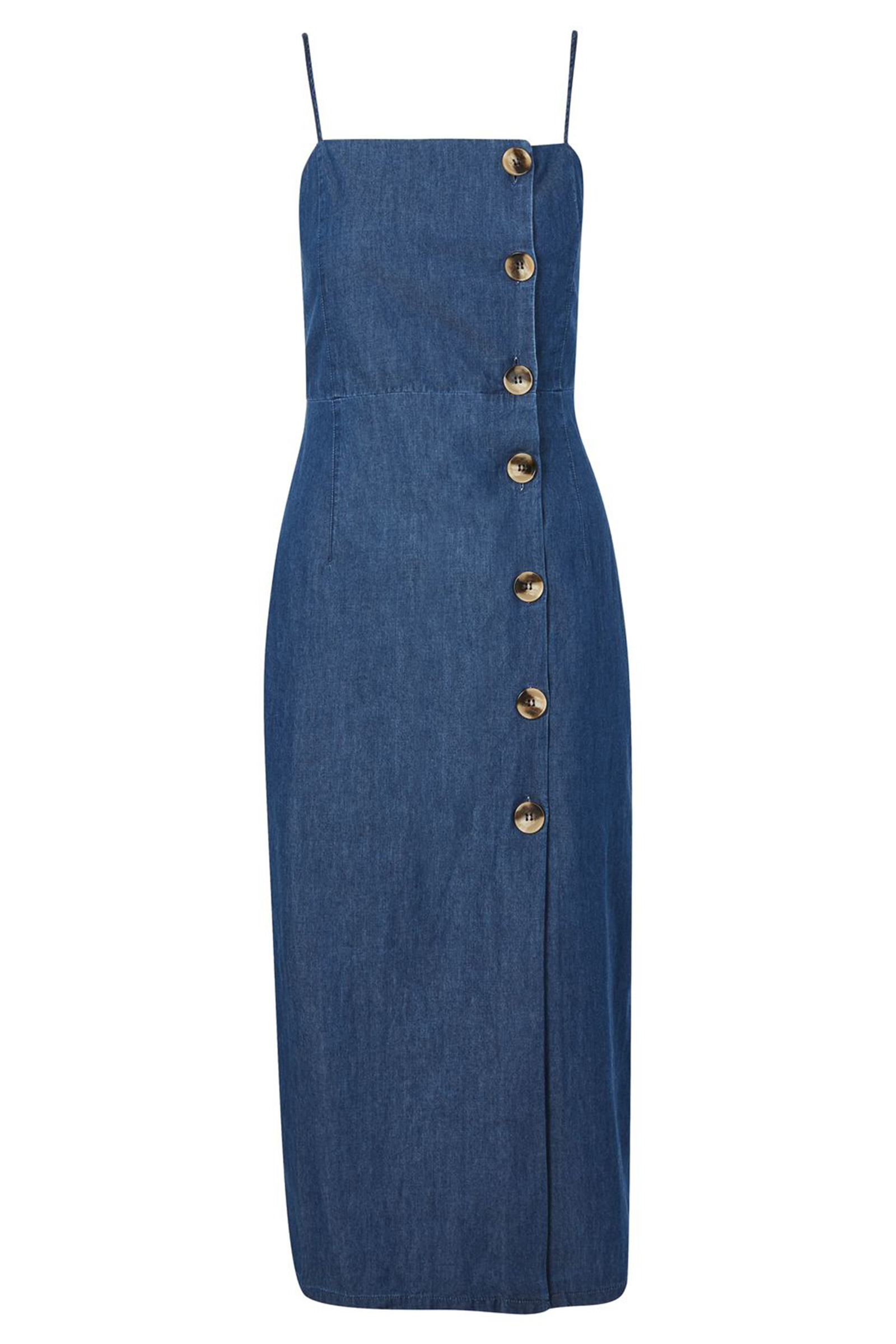 Buy Topshop Moto Horn Button Denim Midi Dress Online