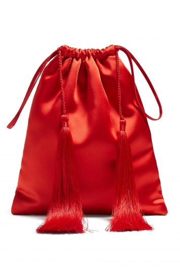 Click to Buy Attico Red Satin Pouch Bag