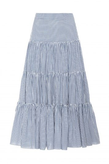 Click to Buy Caroline Constas Peasant Gingham Tiered Navy White Skirt Online