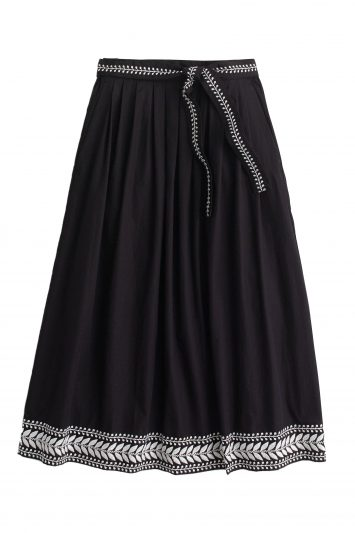 Click to Buy J. Crew Black Embroidered Midi Skirt