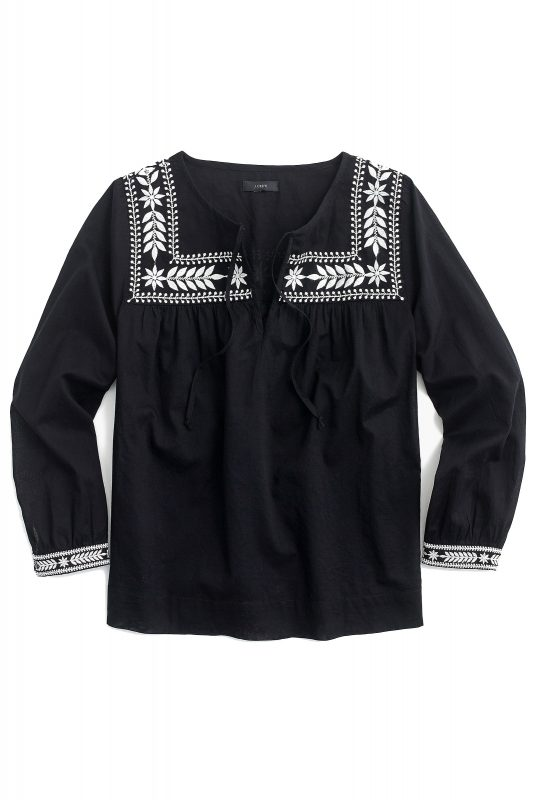 Click to Buy J. Crew Black Embroidered Blouse Online