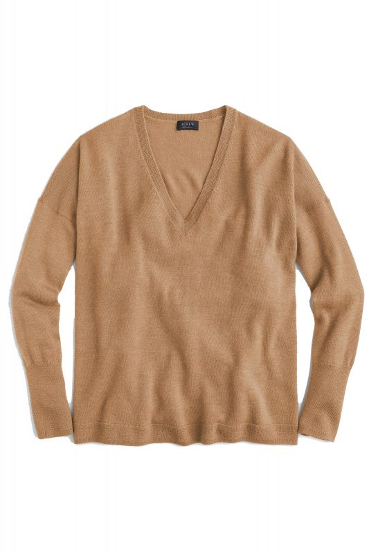 Click to Buy J. Crew V Neck Camel Sweater