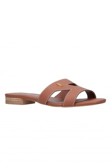 Click to Buy Kurt Geiger Odina Tan Flat Slip On Sandals