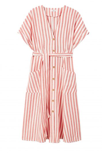 Click to Buy Mango Red Striped Shirt Dress